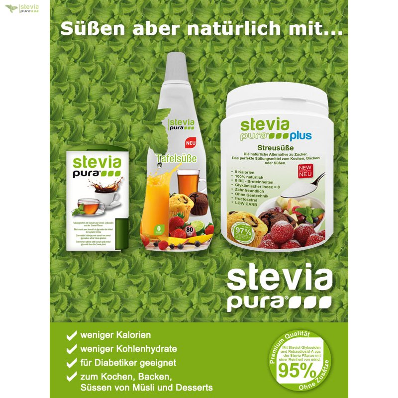 3 x 1200 st ck stevia tabs nachf llpack stevia. Black Bedroom Furniture Sets. Home Design Ideas
